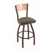 "830 Voltaire 36"" Bar Stool with Bronze Finish, Axis Grove Seat, Natural Oak Back, and 360 swivel"