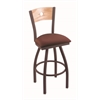 "830 Voltaire 36"" Bar Stool with Bronze Finish, Axis Paprika Seat, Natural Oak Back, and 360 swivel"