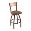 "830 Voltaire 36"" Bar Stool with Bronze Finish, Axis Willow Seat, Natural Oak Back, and 360 swivel"