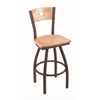 "830 Voltaire 36"" Bar Stool with Bronze Finish, Natural Oak Seat, Natural Oak Back, and 360 swivel"