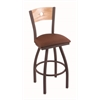 "830 Voltaire 36"" Bar Stool with Bronze Finish, Rein Adobe Seat, Natural Oak Back, and 360 swivel"