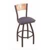 "830 Voltaire 25"" Counter Stool with Bronze Finish, Rein Bay Seat, Natural Oak Back, and 360 swivel"