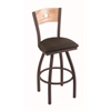 "830 Voltaire 30"" Bar Stool with Bronze Finish, Rein Coffee Seat, Natural Oak Back, and 360 swivel"