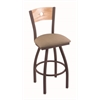 "830 Voltaire 36"" Bar Stool with Bronze Finish, Rein Thatch Seat, Natural Oak Back, and 360 swivel"