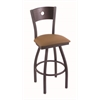 "830 Voltaire 30"" Bar Stool with Pewter Finish, Allante Beechwood Seat, Dark Cherry Maple Back, and 360 swivel"