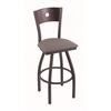 "830 Voltaire 30"" Bar Stool with Pewter Finish, Allante Dark Cherry Grey Seat, Dark Cherry Maple Back, and 360 swivel"