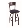 "830 Voltaire 30"" Bar Stool with Pewter Finish, Axis Denim Seat, Dark Cherry Maple Back, and 360 swivel"