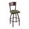 "830 Voltaire 30"" Bar Stool with Pewter Finish, Axis Grove Seat, Dark Cherry Maple Back, and 360 swivel"
