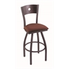 "830 Voltaire 30"" Bar Stool with Pewter Finish, Axis Paprika Seat, Dark Cherry Maple Back, and 360 swivel"