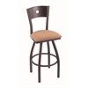 "830 Voltaire 36"" Bar Stool with Pewter Finish, Axis Summer Seat, Dark Cherry Maple Back, and 360 swivel"