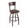 "830 Voltaire 30"" Bar Stool with Pewter Finish, Axis Truffle Seat, Dark Cherry Maple Back, and 360 swivel"