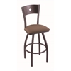 "830 Voltaire 30"" Bar Stool with Pewter Finish, Axis Willow Seat, Dark Cherry Maple Back, and 360 swivel"
