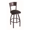 "830 Voltaire 30"" Bar Stool with Pewter Finish, Black Vinyl Seat, Dark Cherry Maple Back, and 360 swivel"