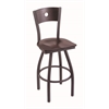 "830 Voltaire 30"" Bar Stool with Pewter Finish, Dark Cherry Maple Seat, Dark Cherry Maple Back, and 360 swivel"