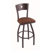 "830 Voltaire 36"" Bar Stool with Pewter Finish, Rein Adobe Seat, Dark Cherry Maple Back, and 360 swivel"