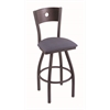 "830 Voltaire 30"" Bar Stool with Pewter Finish, Rein Bay Seat, Dark Cherry Maple Back, and 360 swivel"