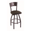 "830 Voltaire 30"" Bar Stool with Pewter Finish, Rein Coffee Seat, Dark Cherry Maple Back, and 360 swivel"