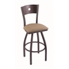 "830 Voltaire 30"" Bar Stool with Pewter Finish, Rein Thatch Seat, Dark Cherry Maple Back, and 360 swivel"