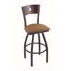 "830 Voltaire 36"" Bar Stool with Pewter Finish, Allante Beechwood Seat, Dark Cherry Oak Back, and 360 swivel"