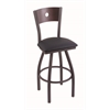 "830 Voltaire 36"" Bar Stool with Pewter Finish, Allante Dark Blue Seat, Dark Cherry Oak Back, and 360 swivel"