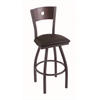 "830 Voltaire 30"" Bar Stool with Pewter Finish, Allante Espresso Seat, Dark Cherry Oak Back, and 360 swivel"