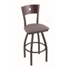 "830 Voltaire 36"" Bar Stool with Pewter Finish, Allante Dark Cherry Grey Seat, Dark Cherry Oak Back, and 360 swivel"