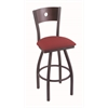 "830 Voltaire 25"" Counter Stool with Pewter Finish, Allante Wine Seat, Dark Cherry Oak Back, and 360 swivel"
