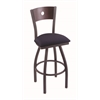 "830 Voltaire 30"" Bar Stool with Pewter Finish, Axis Denim Seat, Dark Cherry Oak Back, and 360 swivel"