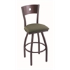 "830 Voltaire 30"" Bar Stool with Pewter Finish, Axis Grove Seat, Dark Cherry Oak Back, and 360 swivel"