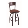 "830 Voltaire 30"" Bar Stool with Pewter Finish, Axis Paprika Seat, Dark Cherry Oak Back, and 360 swivel"