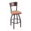 "830 Voltaire 30"" Bar Stool with Pewter Finish, Axis Summer Seat, Dark Cherry Oak Back, and 360 swivel"