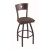 "830 Voltaire 36"" Bar Stool with Pewter Finish, Axis Truffle Seat, Dark Cherry Oak Back, and 360 swivel"