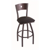 "830 Voltaire 30"" Bar Stool with Pewter Finish, Black Vinyl Seat, Dark Cherry Oak Back, and 360 swivel"