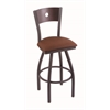 "830 Voltaire 30"" Bar Stool with Pewter Finish, Rein Adobe Seat, Dark Cherry Oak Back, and 360 swivel"