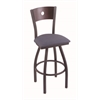 "830 Voltaire 30"" Bar Stool with Pewter Finish, Rein Bay Seat, Dark Cherry Oak Back, and 360 swivel"