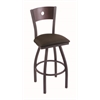 "830 Voltaire 30"" Bar Stool with Pewter Finish, Rein Coffee Seat, Dark Cherry Oak Back, and 360 swivel"