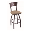 "830 Voltaire 25"" Counter Stool with Pewter Finish, Rein Thatch Seat, Dark Cherry Oak Back, and 360 swivel"