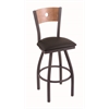 "830 Voltaire 30"" Bar Stool with Pewter Finish, Allante Espresso Seat, Medium Maple Back, and 360 swivel"