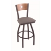 "830 Voltaire 30"" Bar Stool with Pewter Finish, Allante Medium Grey Seat, Medium Maple Back, and 360 swivel"
