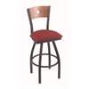 "830 Voltaire 25"" Counter Stool with Pewter Finish, Allante Wine Seat, Medium Maple Back, and 360 swivel"