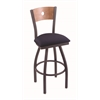 "830 Voltaire 36"" Bar Stool with Pewter Finish, Axis Denim Seat, Medium Maple Back, and 360 swivel"