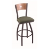 "830 Voltaire 30"" Bar Stool with Pewter Finish, Axis Grove Seat, Medium Maple Back, and 360 swivel"