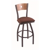 "830 Voltaire 36"" Bar Stool with Pewter Finish, Axis Paprika Seat, Medium Maple Back, and 360 swivel"