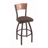 "830 Voltaire 30"" Bar Stool with Pewter Finish, Axis Truffle Seat, Medium Maple Back, and 360 swivel"