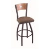 "830 Voltaire 30"" Bar Stool with Pewter Finish, Axis Willow Seat, Medium Maple Back, and 360 swivel"