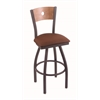 "830 Voltaire 36"" Bar Stool with Pewter Finish, Rein Adobe Seat, Medium Maple Back, and 360 swivel"