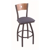 "830 Voltaire 36"" Bar Stool with Pewter Finish, Rein Bay Seat, Medium Maple Back, and 360 swivel"