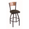 "830 Voltaire 30"" Bar Stool with Pewter Finish, Rein Coffee Seat, Medium Maple Back, and 360 swivel"