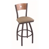 "830 Voltaire 30"" Bar Stool with Pewter Finish, Rein Thatch Seat, Medium Maple Back, and 360 swivel"