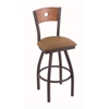 "830 Voltaire 30"" Bar Stool with Pewter Finish, Allante Beechwood Seat, Medium Oak Back, and 360 swivel"